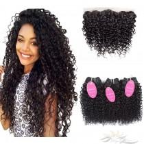 Brazilian Curl Brazilian Virgin Hair Lace Frontal + Hair Wefts Bundle Sale [BLWBRC]