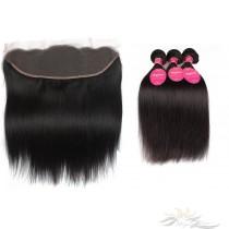 Silky Straight Brazilian Virgin Hair Lace Frontal + Hair Wefts Bundle Sale [BLWST]