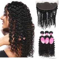 Deep Wave Brazilian Virgin Hair Lace Frontal + Hair Wefts Bundle Sale [BLWDW]