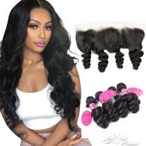 Body Curl Brazilian Virgin Hair Lace Frontal + Hair Wefts Bundle Sale [BLWBC]