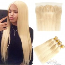 Blonde Color #613 Straight Hair Human Virgin Hair Lace Frontal + Hair Wefts Bundle Sale [613LWST]