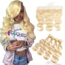 Blonde Color #613 Body Wave Human Virgin Hair Lace Frontal + Hair Wefts Bundle Sale [613LWBW]