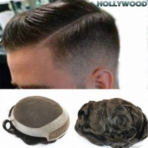 HOLLYWOOD SUPER FINE INVISIBLE LACE FRONT AND SKIN PERIMETER MEN TOUPEES HAIR REPLACEMENT FOR MEN CUSTOM MADE