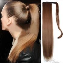 Clip in Ponytail Extension Wrap Around Natural Hairpiece for Women 22 Inch Straight Hair [HA04]