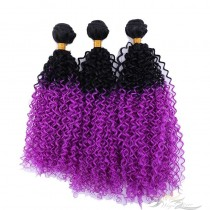 Curly Ombre Color 1B/PURPLE African American Hair Ultima Fiber Hair Weft   [SUWKC1BP]