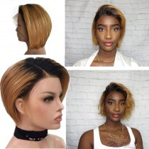 Short Styled Ombre Colors T1B/27  Brazilian Virgin Hair Lace Front Wig [BLFW42]