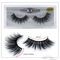 3D Mink Eyelashes 3D Layered Effect Faux Siberian Mink Fur Reusable Hand Made Strips Eyelashes 1 Pair [SD-01]