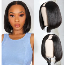 Short BOB Brazilian Virgin Hair U Part Wigs Human Hair U-PART Wigs Clips In Glueless Wigs Pre Plucked African American Wigs For Black Women No Glue No Sew In [UWBOB]