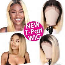 Straight BOB T1B/613 Ombre Blonde Human Hair Lace Front Wigs T-Part Lace Frontal Wig T-Lace Middle Part Wigs Brazilian Hair Clips In Glueless Wigs Pre Plucked African American Wigs For Black Women No Glue No Sew In [TW1B613B]