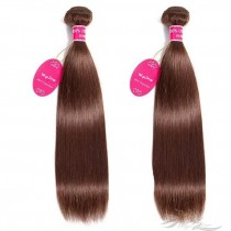 Color #4 Silky Straight Brazilian Virgin Hair Wefts 2pcs/Lot Human Virgin Hair Weaves 2 Bundles [BRW4ST2]