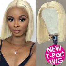 BOB Straight 613 Blonde Human Hair Lace Front Wigs T-Part Lace Frontal Wig T-Lace Middle Part Wigs Brazilian Hair Clips In Glueless Wigs Pre Plucked African American Wigs For Black Women No Glue No Sew In [TW613B]