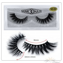 3D Mink Eyelashes 3D Layered Effect Faux Siberian Mink Fur Reusable Hand Made Strips Eyelashes 1 Pair [SD-02]