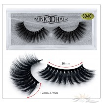 3D Mink Eyelashes 3D Layered Effect Faux Siberian Mink Fur Reusable Hand Made Strips Eyelashes 1 Pair [SD-03]