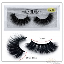 3D Mink Eyelashes 3D Layered Effect Faux Siberian Mink Fur Reusable Hand Made Strips Eyelashes 1 Pair [SD-08]