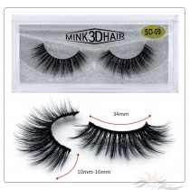 3D Mink Eyelashes 3D Layered Effect Faux Siberian Mink Fur Reusable Hand Made Strips Eyelashes 1 Pair [SD-09]