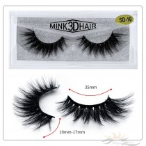 3D Mink Eyelashes 3D Layered Effect Faux Siberian Mink Fur Reusable Hand Made Strips Eyelashes 1 Pair [SD-10]
