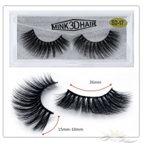 3D Mink Eyelashes 3D Layered Effect Faux Siberian Mink Fur Reusable Hand Made Strips Eyelashes 1 Pair [SD-17]