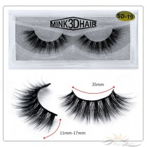 3D Mink Eyelashes 3D Layered Effect Faux Siberian Mink Fur Reusable Hand Made Strips Eyelashes 1 Pair [SD-19]