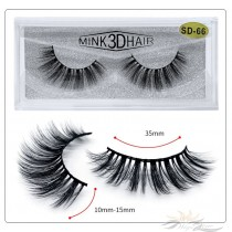 3D Mink Eyelashes 3D Layered Effect Faux Siberian Mink Fur Reusable Hand Made Strips Eyelashes 1 Pair [SD-66]