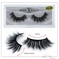 3D Mink Eyelashes 3D Layered Effect Faux Siberian Mink Fur Reusable Hand Made Strips Eyelashes 1 Pair [SD-68]