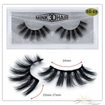 3D Mink Eyelashes 3D Layered Effect Faux Siberian Mink Fur Reusable Hand Made Strips Eyelashes 1 Pair [SD-69]