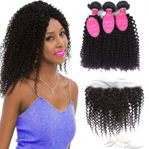 Deep Curl Brazilian Virgin Hair Lace Frontal + Hair Wefts Bundle Sale [BLWDC]