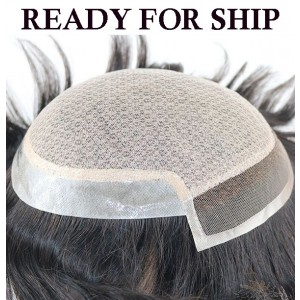 Ready To Ship Silk Base Lace Front With Thin Skin Stock Toupee for Men Hidden Knots Hair Replacement System Top Quality Human Hair Hairpieces [ST37]