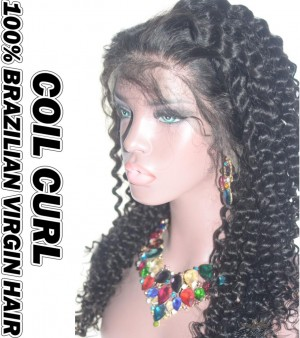Coil Curl Brazilian Virgin Human Hair HD Lace 360 Lace Wig 150% Density Pre-Plucked Hairline
