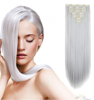24 Inches Long Straight Full Head Clip in Hair Extensions Futura Fibre 8pcs 150g [HA08]
