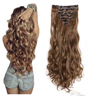 24 Inches Long Curly Full Head Clip in Hair Extensions Futura Fibre 8pcs 150g [HA07]