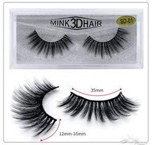 3D Mink Eyelashes 3D Layered Effect Faux Siberian Mink Fur Reusable Hand Made Strips Eyelashes 1 Pair [SD-01]