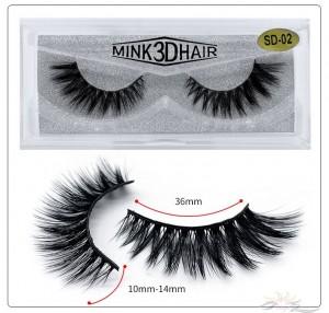 3D Mink Eyelashes 3D Layered Effect Faux Siberian Mink Fur Reusable Hand Made Strips Eyelashes 1 Pair [SD-02]