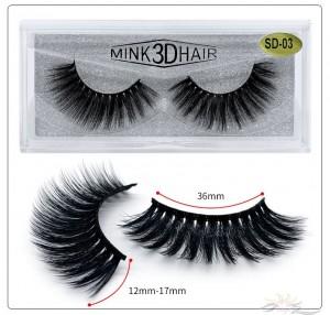 3D Mink Eyelashes 3D Layered Effect Faux Siberian Mink Fur Reusable Hand Made Strips Eyelashes 1 Pair [SD-03]