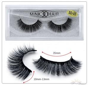 3D Mink Eyelashes 3D Layered Effect Faux Siberian Mink Fur Reusable Hand Made Strips Eyelashes 1 Pair [SD-05]