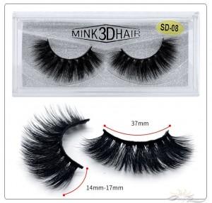 3D Mink Eyelashes 3D Layered Effect Faux Siberian Mink Fur Reusable Hand Made Strips Eyelashes 1 Pair [SD-08]